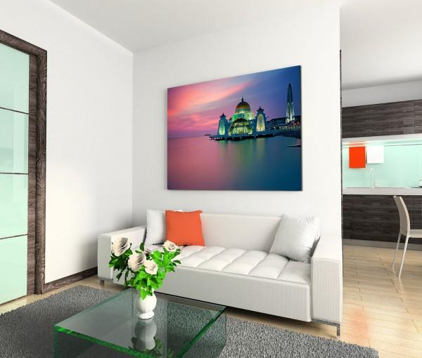 120x80cm Wandbild Moschee Meer Sonnenuntergang Lichter
