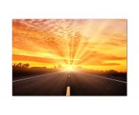 120x80cm Straße Landschaft Sonnenuntergang