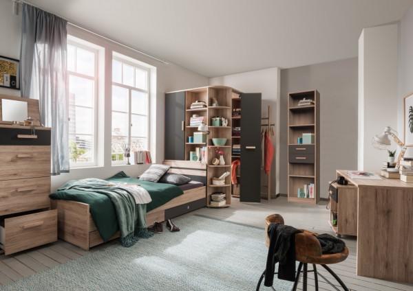 Jugendzimmer Cariba in Eiche San Remo und Graphit 8 teilig mit begehbarem Eckschrank, Bett, ...