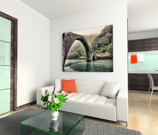 120x80cm Wandbild Toskana Fluss Brücke Berge Wald Nebel