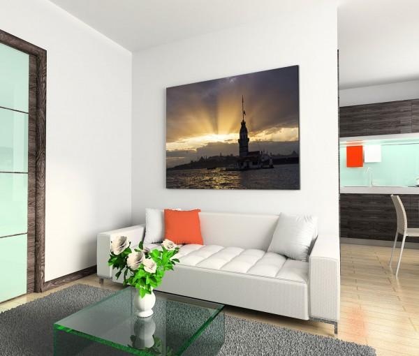 120x80cm Wandbild Istanbul Bosporus Jungfrauenturm Sonnenuntergang