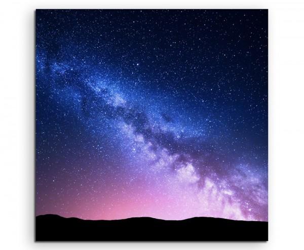 Landschaftsfotografie – Milchstraße im pinken Sternenhimmel auf Leinwand exklusives Wandbild moderne
