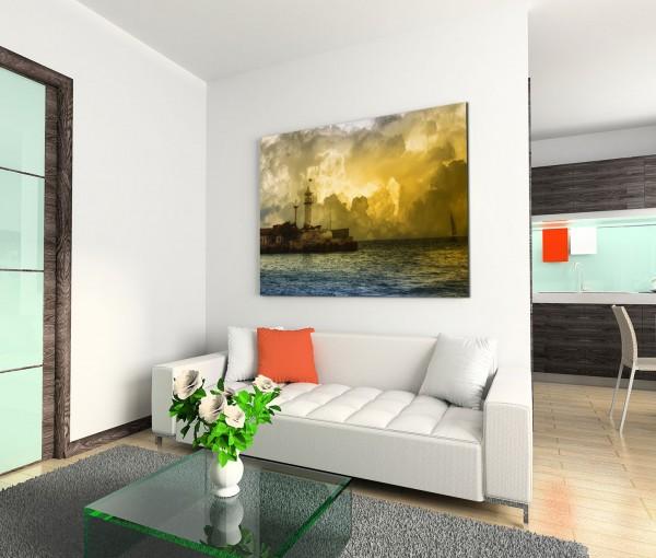 120x80cm Wandbild Leuchtturm Meer Wolken Segelboot