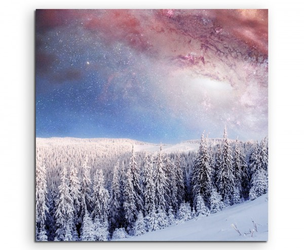 Landschaftsfotografie – Sternenhimmel über verschneitem Wald auf Leinwand exklusives Wandbild moder