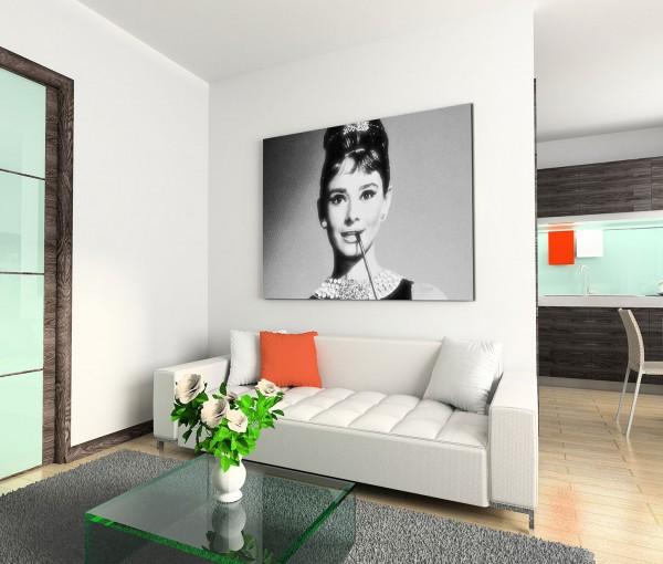 120x80cm Wandbild Audrey Hepburn Portrait Gesicht schwarz weiß