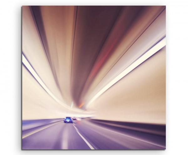 Künstlerische Fotografie – Vintage Autobahn Tunnel auf Leinwand exklusives Wandbild moderne Fotograf