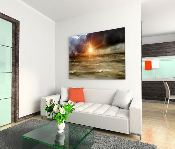 120x80cm Wandbild Meer Wellen Wolken Sturm Sonne