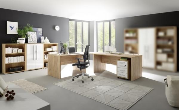 Büromöbel Office Line Eiche 5 teilig mit extra stabilen 25mm Korpus!