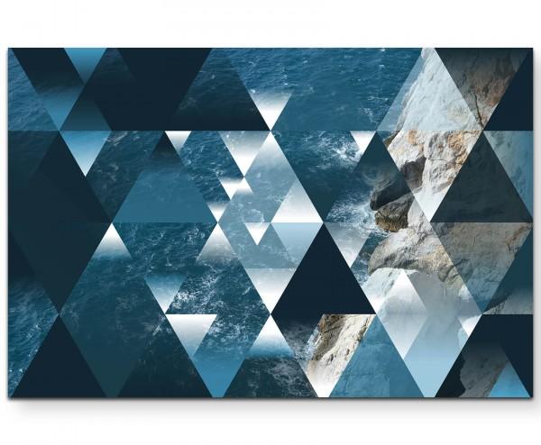 Abstraktes Bild – Dreiecke – Wellen und Strand - Leinwandbild