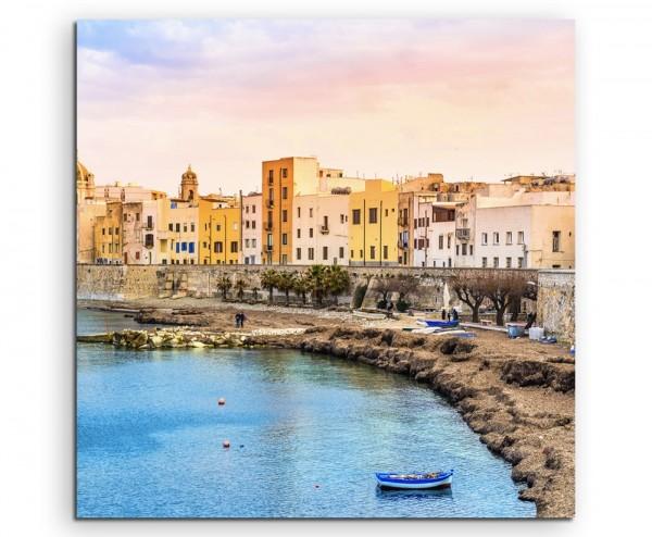 Landschaftsfotografie – Hafen auif Sizilien, Italien auf Leinwand