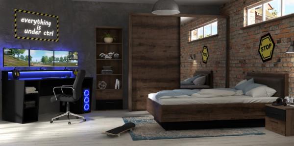 """Jugendzimmer Gamingzimmer Tezaur """"Jacky"""" 5 Teilig mit großem Gamer Tisch, Bett, Schwebetürenschrank"""