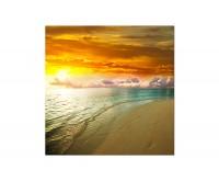 80x80cm Dämmerung Sonnenuntergang Meer Strand