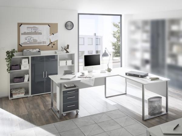 Büromöbel Office Luxo in Lichtgrau mit lackierten Graphit Glasfronten 5 teiliges Superset mit Winkel
