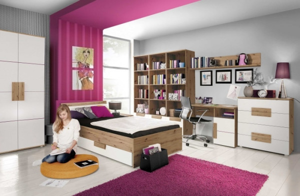 """Jugendzimmer Libelle """"Arkina"""" in Artisan Oak und Weiß 9 teiliges Superset mit 2türigem Kleiderschran"""