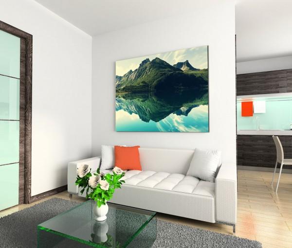 120x80cm Wandbild Berge Wolken See Spiegelung