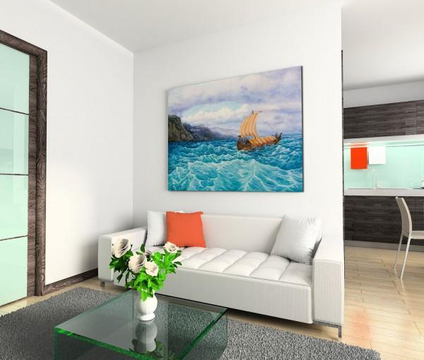 120x80cm Wandbild Ölgemälde Meer Wellen Küste Felsen Segelboot