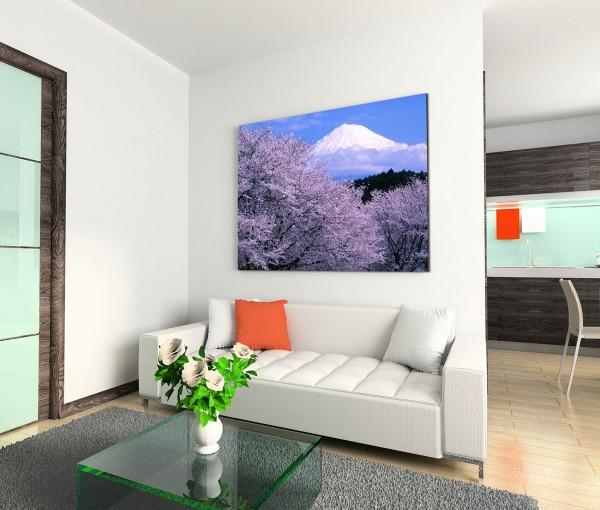 120x80cm Wandbild Fuji Berggipfel Schnee Kirschbäume