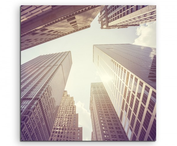Architekturfotografie –Wolkenkratzer in Manhatten, NYC, USA auf Leinwand