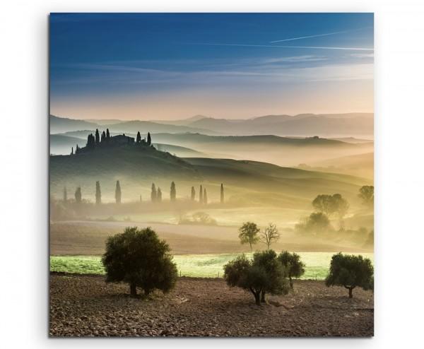 Landschaftsfotografie – Gold grüne Felder der Toskana auf Leinwand