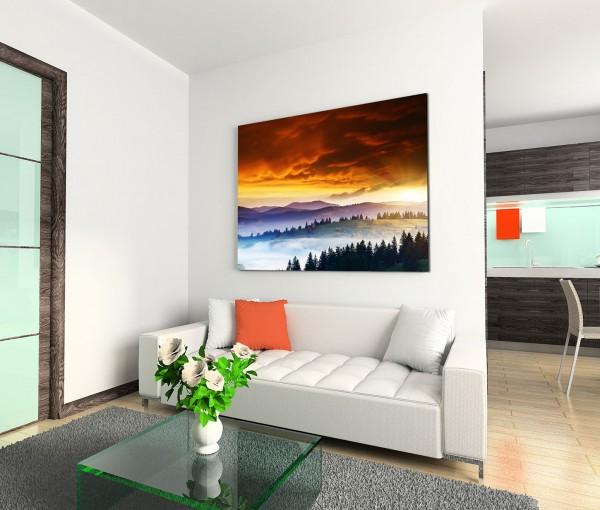 120x80cm Wandbild Ukraine Berge Wald Sonnenuntergang Wolken