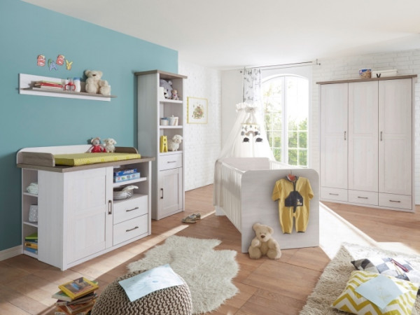Babyzimmer Luca in Pinie Weiß und Trüffel 4 teiliges Superset mit Schrank, Bett mit Lattenrost, Wick