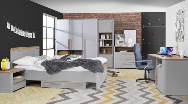 Jugendzimmer Surfino 7 teiliges Komplett Set in Grau und Catania Eiche von Forte mit Kleiderschrank, 120er Bett mit Bettschubkästen und Nachttisch, Schreibtisch, Kommode und Regalen