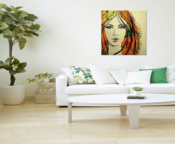 80x80cm Gemälde Frau Gesicht Kunstwerk abstrakt