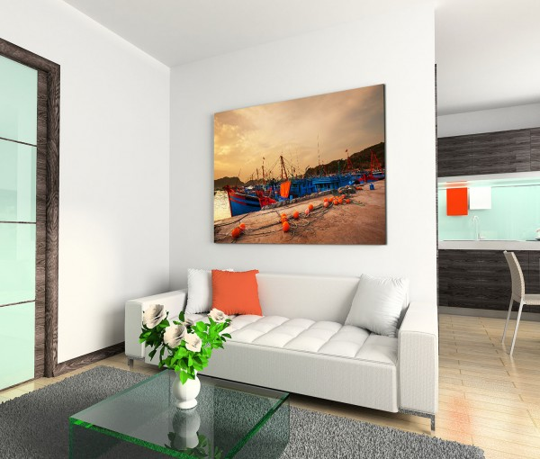 120x80cm Wandbild Vietnam Halong Bay Hafen Boot