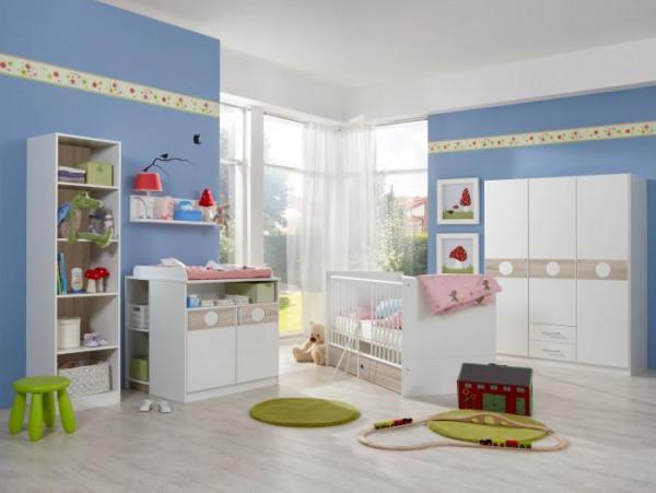 Babyzimmer Kimba in Weiß und Eiche Sägerau von Wimex 7 teiliges Superset mit Schrank, Bett mit Latte