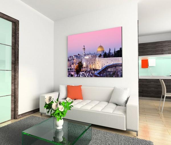 120x80cm Wandbild Israel Jerusalem Dom Stadt Menschen