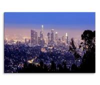 120x80cm Wandbild Los Angeles Skyline Stadt Nacht Lichter