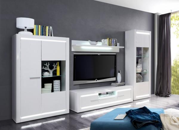 Wohnwand L- Light Weiß und MDF Weiß Hochglanz 4 teilig von Forte +++ von möbel-direkt+++ schnell und günstig