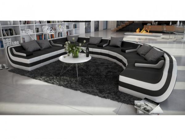 Wohnlandschaft Tissera Innocent schwarz-weiß individuell stellbar aus hochwertigem Kunstleder