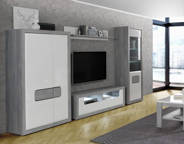 Wohnwand Tomasso Nordic Grey Oak und MDF Weiß Hochglanz 4 teilig von Forte +++ von möbel-direkt+++ schnell und günstig