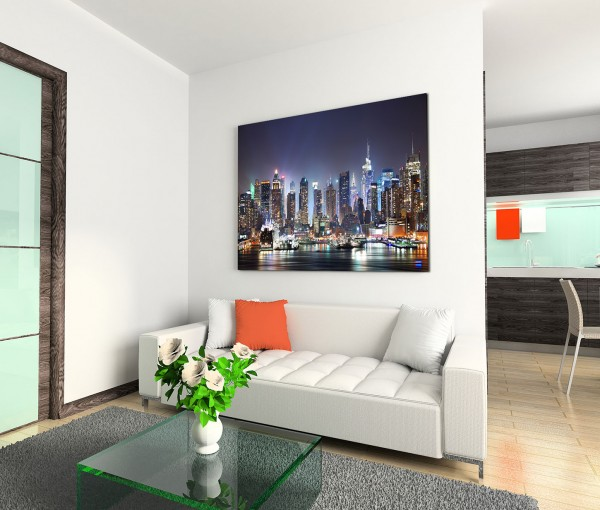 120x80cm Wandbild Manhattan Skyline Hudson Nacht Lichter