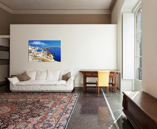 120x80cm Santorini Dom Häuser Meerblick