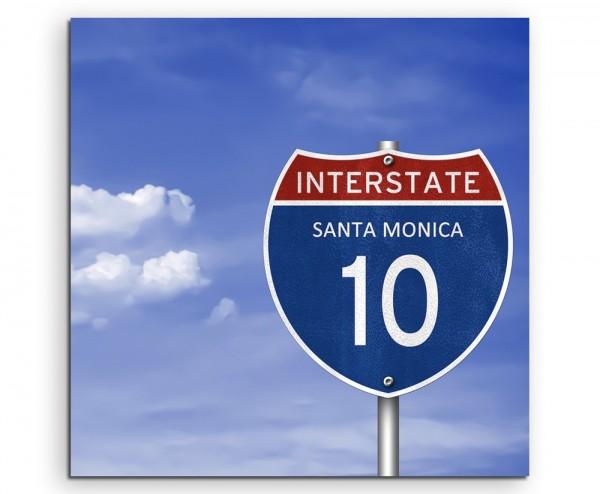 Landschaftsfotografie – Autobahnschild Interstate Santa Monica auf Leinwand