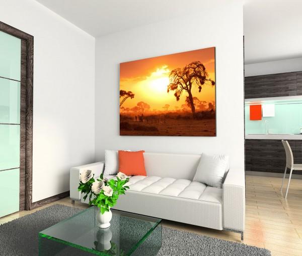 120x80cm Wandbild Kenia Akazien Wildtiere Sonnenuntergang