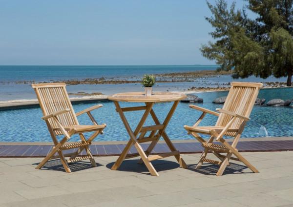 Gartenmöbel Set Aluna 3 teilig aus Teakholz komplett mit rundem Gartentisch und einem 2er Set Garten