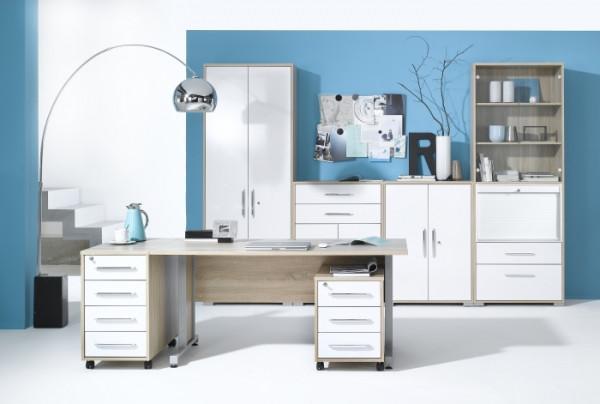 Büro Office System III Sonoma- Weiß 6tlg