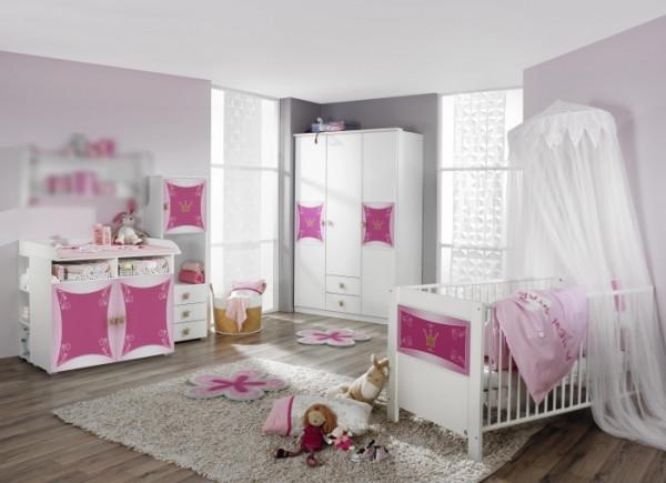 Babyzimmer Kate in Weiß- Rosa von Rauch Möbel 7 teiliges Megaset mit Schrank, Bett mit Lattenrost un