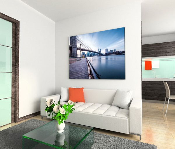 120x80cm Wandbild Manhattan Brooklyn Bridge Hudson River
