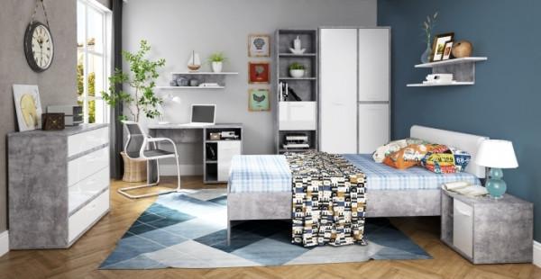 Jugendzimmer Canmore in Grau Vintage und Weiß Hochglanz 8 teiliges Megaset mit 3türigem Kleiderschra
