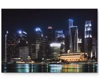 Skyline von Singapur bei Nacht - Leinwandbild