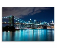 120x80cm Wandbild New York Brooklyn Bridge Nacht Lichter