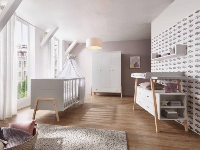 Babyzimmer Holly Nature in Weiß mit Fußgestellen in Altmühlbuche massiv 6 teiliges Megaset von SCHARDT