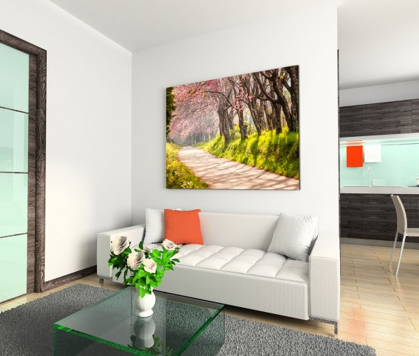 120x80cm Wandbild Thailand Chiang Mai Kirschbäume Wiese Weg