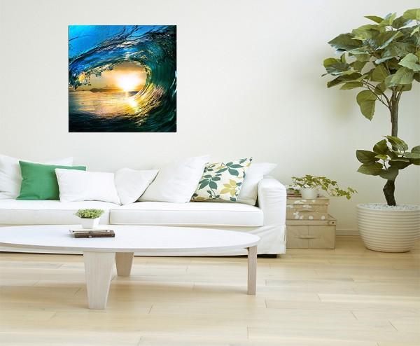 80x80cm Ozean Wasserwelle Sonnenuntergang