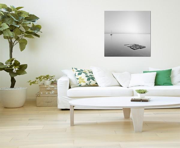 80x80cm Wasserlandschaft Steine Boot grau