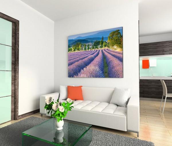 120x80cm Wandbild Provence Lavendelfeld Sommer Bäume Berge